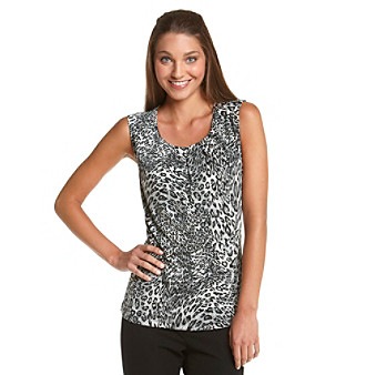 Laura Ashley® Pleat Neck Cheetah Top