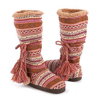 "MUK LUKS® ""Helga"" Swiss Fairisle Slipper Boots - Magical"
