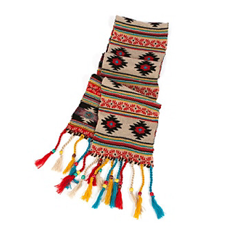 "MUK LUKS® ""Painted Desert"" Beaded Tassel Scarf - Brown"