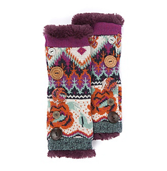 "MUK LUKS® Boho Button Accent Armwarmers - ""Purple Multi"""