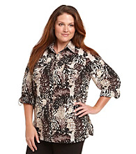 Notations® Plus Size Printed Work Shirt