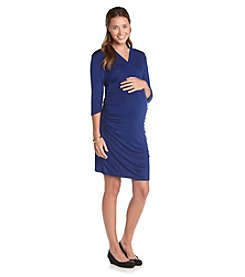 Three Seasons Maternity™ Solid Surplice Side-Ruched Dress