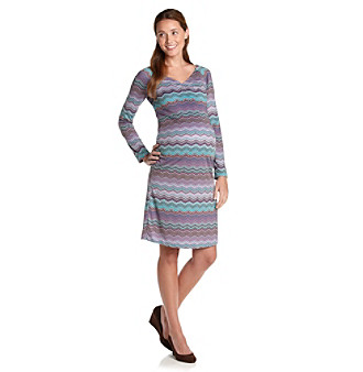 Three Seasons Maternity™ Printed Front and Side Ruched Dress
