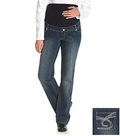 Three Seasons Maternity™ Embellished Five-Pocket Stretch Denim Jean