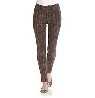 Nine West Jeans Dark Haute Taupe Skinny-Fit Printed Ponte Pants