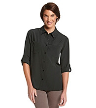 Notations® Solid Button-Down Utility Shirt