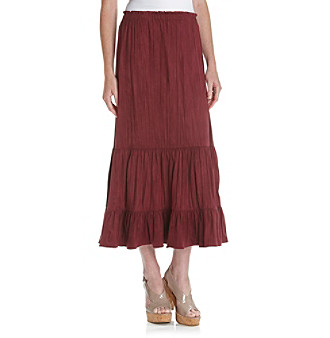 Notations® Tiered Long Ultrasuede Crinkle Skirt