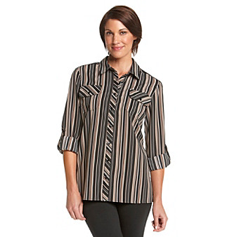 Notations® Roll-Tab Sleeve Button-Down Printed Utility Blouse