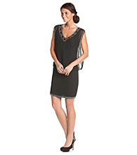 J Kara® Short, Beaded V-Neck Dress