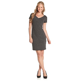 AGB® V-Neck Solid Ponte Dress
