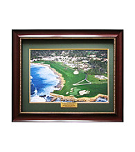 CGI Sports Memories Pebble Beach 18th Hole Print/Mahogany Frame/Forest Green and Gold Mat