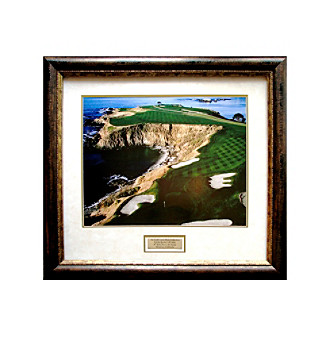 CGI Sports Memories Pebble Beach 8th Hole Print/Antique Bronze/Gold Frame/Marble and Gold Mat