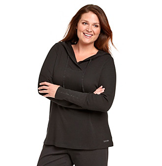 Calvin Klein Performance Plus Size Hooded Thermal Top