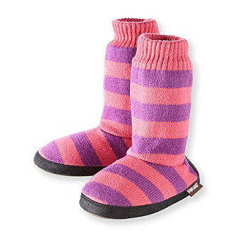 MUK LUKS Girls' Pink/Purple Wide Striped Sweater Top Slippers