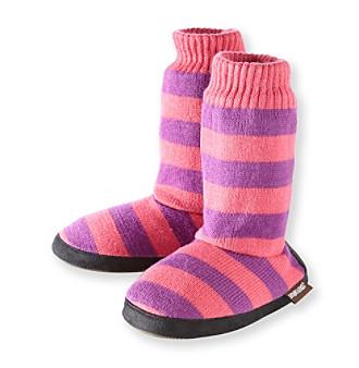 MUK LUKS Girls' Pink/Purple Wide Striped Sweater Top Slippers