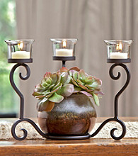 The Pomeroy Collection Warwick Candleholder Floral Centerpiece