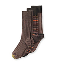 GOLD TOE® Men's Fancy Stripe 3-Pack Crew Socks