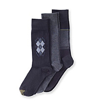 GOLD TOE® Men's Argyle Motif 3-Pack Crew Socks