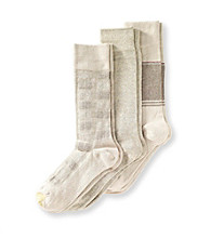 GOLD TOE® Men's Heather Block Plaid 3-Pack Crew Socks