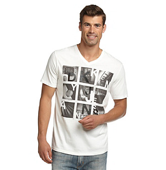 "DKNY JEANS® Men's White ""City Grid"" Graphic Tee"