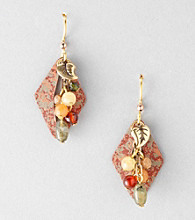 Silver Forest® Brown Earthy Diamond-Shaped Cluster Earrings