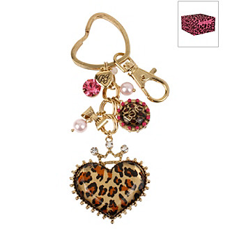Betsey Johnson® Leopard Heart Key Fob in a Betsey Johnson Pink Leopard Gift Box