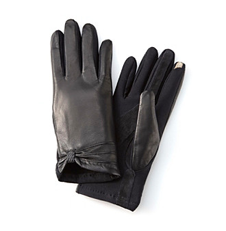Isotoner® Black smarTouch® Stretch Leather w/Vertical Stitch Gloves