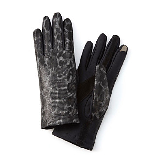 Isotoner® Black Print smarTouch® Printed Novelty Skin Back w/Spandex Palm Gloves (Fleece Lined)