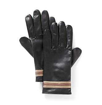 Isotoner® Burnished Leather Glove with Metallic Hem (Fleece Lined)