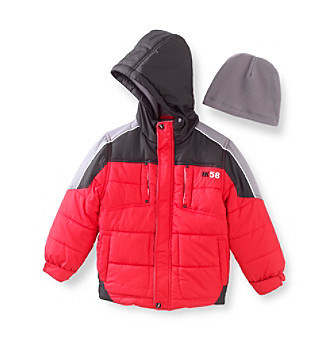 Hawke & Co. Boys' 4-7 Red Colorblock Bubble Jacket