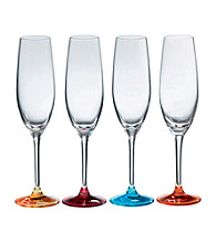 Royal Doulton® Pop in for Drinks Set of 4 Colored Champagne Flutes