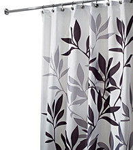 InterDesign® Black and Grey Leaves Shower Curtain