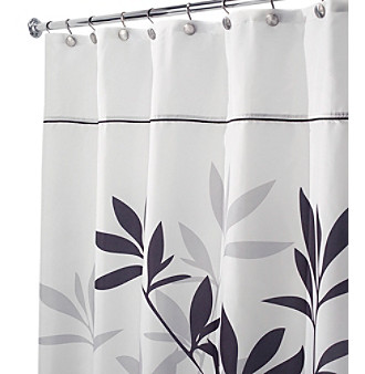 Product InterDesign Black And Grey Leaves Shower Curtain
