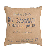 Surya Burlap and Blue Decorative Pillow