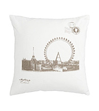 Surya Ivory and Brown Ferris Wheel Decorative Pillow