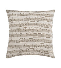 Surya Beige and Brown Music Notes Decorative Pillow