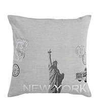 Surya Grey and Black New York Decorative Pillow