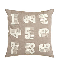 Surya Numbers Taupe and Ivory Decorative Pillow