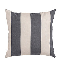 Surya Grey and Ivory Thick Stripe Pillow