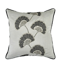 Surya Grey and Taupe Flowers Decorative Pillow