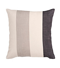 Surya Ivory and Grey Thick Stripes Pillow