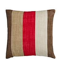 Surya Red and Brown Stylish Stripes Decorative Pillow