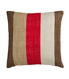 Chic Designs Red and Brown Stylish Stripes Decorative Pillow