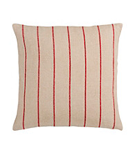 Surya Beige and Red Thin Stripes Decorative Pillow
