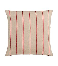 Chic Designs Beige and Red Thin Stripes Decorative Pillow