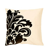 Surya Black and White Elegant Flower Decorative Pillow