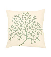 Surya Ivory and Blue Subtle Tree Decorative Pillow