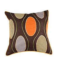 Surya Chocolate Multi-Colored Large Circles Decorative Pillow