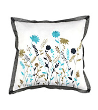 Surya White Multi-Colored Floral Scene Decorative Pillow