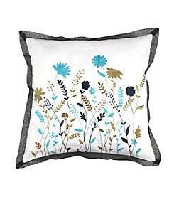 Chic Designs White Multi-Colored Floral Scene Decorative Pillow
